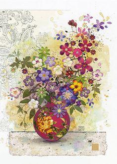 BugArt Florals ~ Red Vase. FLORALS Designed by Jane Crowther.