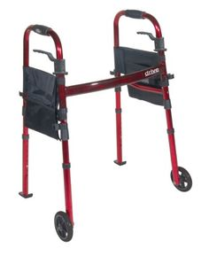 Drive Medical Deluxe Portable Folding Travel Walker with 5 Wheels and Fold up Legs Red -- Click the aids image to find out more