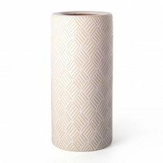 Paragüero cerámica redondo blanco Rayas en Nuryba.com tu tienda de muebles y decoracion online