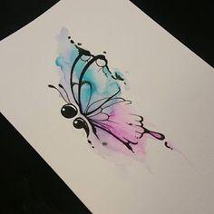 blue butterfly tattoo semicolon