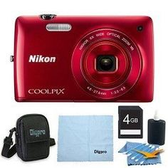 Nikon COOLPIX S4300 16MP 3-inch Touch Screen Digital Camera 4GB Red Bundle by Nikon. $109.00. Produce great photos and HD (720p) movies with style near to far with a 6x optical zoom. The COOLPIX S4300 features a large 3-inch Touchscreen for easy feature settings and playback. Sharp images and movies are assured with optical VR Image Stabilization. Photos that tell it allNothing tells a story like a photo! The COOLPIX S4300 is the right choice to catch every moment....