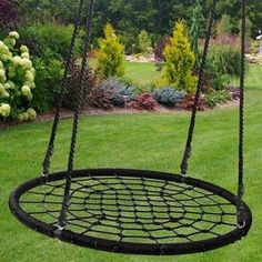STRONG & DURABLE: Made of strong steel which is covered with durable nylon rope. The high strength nylon rope makes sure the durability of the net swing. The Large Web Swing is rated to hold up to 600 lbs. Hammock Swing Chair, Rope Swing, Swinging Chair, Swing Chairs, Desk Chairs, Backyard Swings, Backyard For Kids, Backyard Projects, Hanging Tree