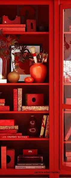 Red Rosso Rouge Rojo Rød 赤 Vermelho Color Colour Texture Form Pattern Red Bookcase, Bookcases, Painted Bookshelves, Tree Bookshelf, Tree Shelf, Bookshelf Ideas, Bookshelf Styling, Bookshelf Design, Tree Wall