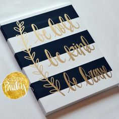 Hand Lettering Inspirational Canvas Painting Canvas Wall Hanging Sign Black Striped Gold Modern Calligraphy Wall Art Wall Decor Home De. Canvas Crafts, Diy Canvas, Canvas Art, Painting Canvas, Canvas Ideas, Painted Canvas Quotes, Canvas Quote Paintings, Paintings With Quotes, Giraffe Painting
