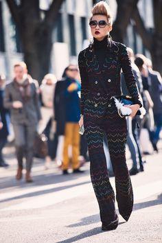 black and rainbow printed suit + black turtleneck