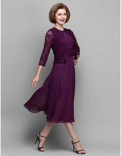 A-line Mother of the Bride Dress - Grape Tea-length 3/4 Leng... – USD $ 99.99