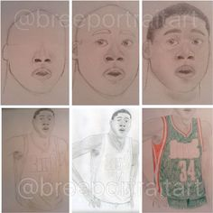 WIP from my June 2015 Giannis Antetokounmpo drawing!