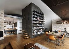 The interior designer Veneta Nikolova and architect Dimitar Karanikolov teamed up for the creation of this amazing loft in Sofia, Bulgaria. The loft looks incredible, and that using a limited space… Apartment Projects, Attic Apartment, Apartment Interior, Hipster Apartment, Men Apartment, Dream Apartment, Apartment Kitchen, Attic Renovation, Attic Remodel