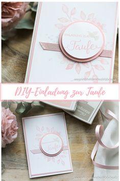 DIY - Einladung zur Taufe mit Stampin Up Stempelsets Segensfeste und Blütentraum für Mädchen in rosa