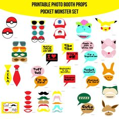 ♥ This set of Photobooth props has 30 pages and includes: 10 Mustaches 5 Lips 2 Ties 6 Glasses 2 Masks 2 Hats 6 Monster Sets 2 Pokeballs 14 Speech Bubble Signs 1 Table Sign and instructions Monster Birthday Parties, Diy Birthday, Birthday Ideas, 12th Birthday, Pokemon Masks, Pokemon Party Decorations, Diy Fotokabine, Diy Photo Booth Props, Pokemon Photo