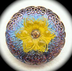 """BiG PAiR czech glass buttons Daffodil Yellow Gem Flower gold lace 1 1/16"""" x2"""