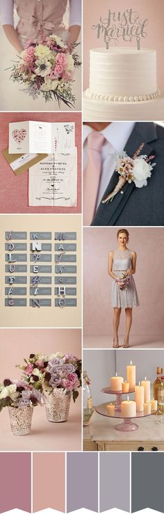 A pretty and feminine winter pink wedding colour palette with shades of soft pink and peach and subtle hints of dusky lavender and grey...
