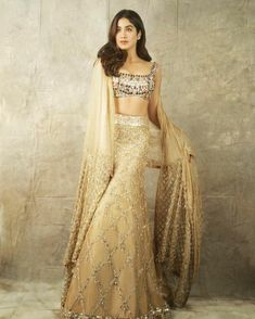 Shimmery bridal lehenga perfect for engagement ceremony. Latest Bridal Lehenga, Designer Bridal Lehenga, Indian Bridal Lehenga, Western Dresses, Indian Dresses, Indian Outfits, Manish Malhotra Saree, Beautiful Dresses, Nice Dresses