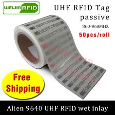 12.86$  Buy now - http://alizv5.shopchina.info/go.php?t=32809436054 - RFID tag UHF sticker Alien 9640 wet inlay 915mhz868mhz 860-960MHZ Higgs3 EPC 6C 50pcs free shipping adhesive passive RFID label  #buyonlinewebsite