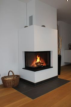 Corner fireplace modern living room by christoph lüpken ofenbau gmbh - fireplaces from duesseldorf modern Fireplace Shelves, Home Fireplace, Modern Fireplace, Living Room With Fireplace, Cozy Living Rooms, Corner Fireplaces, Farmhouse Interior, Farmhouse Furniture, Paint Your House
