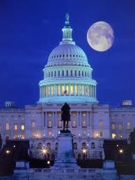 Our Nation's capitol, Washington DC.  Hubby & I sat parked aside the national mall awaiting just such a moonrise, ready to photograph the beautiful night scene.  Apparently, that was suspicious behavior because capitol police drove along side our vehicle and when we looked at them, they took our pictures! I hope we smiled. :-)