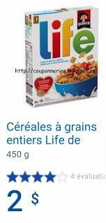 Coupons et Circulaires: 1$ Céréales LIFE