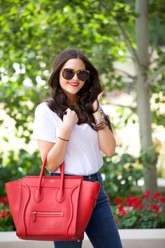 A little Flare. - Pink Peonies by Rach Parcell Pink Peonies Blog, Spring Summer Fashion, Autumn Winter Fashion, Givenchy, Balenciaga, Red Fashion, Womens Fashion, Red Tote Bag, Handbags Michael Kors