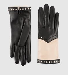 Gucci - women's brogue leather gloves 387559BN0608581