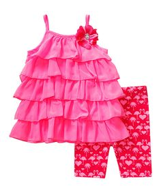 Look at this Youngland Pink Flamingo Ruffle Tunic & Leggings - Toddler on #zulily today!