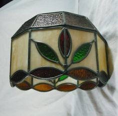 Vintage Slag Stained Glass Lamp Shade Floral White Gold Metal frame Light