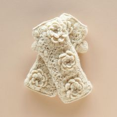 Blossoming Handwarmers: Irish Crochet Fingerless Gloves. Wool gloves and poly fleece lining. http://ii.sundancecatalog.com/fcgi-bin/iipsrv.fcgi?FIF=/images/sundance/source/products/en_us/source/62378.tif&wid=1000&cvt=jpeg