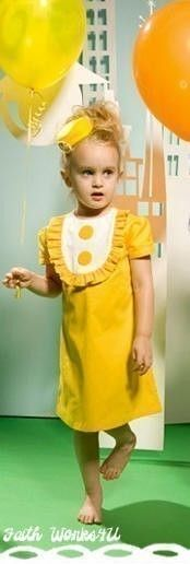 Super Cute Dress, featured in Parenting magazine - I love the yellow, but I think it would be so cute with a mix of red & green for the holidays, maybe I could make it??