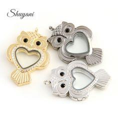 10pcs/lot Free Shipping Heart Owl Shape Alloy Floating Locket Glass Living Memory Aromatherapy Locket Necklaces & Pendants