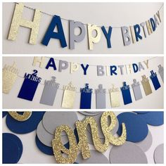 First Birthday Decorations Boy, First Birthday Photo Banner, Gold Navy First Birthday, First Birthday Party In a Box, First Birthday bunting - Fallo da solo Blue Birthday Parties, Baby Boy First Birthday, First Birthday Photos, Birthday Party Themes, Birthday Box, 1st Birthday Party Ideas For Boys, Birthday Gifts, Birthday Photo Banner, Happy Birthday Banners