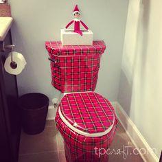 Elf on the Shelf Ideas – Wrapped Toilet