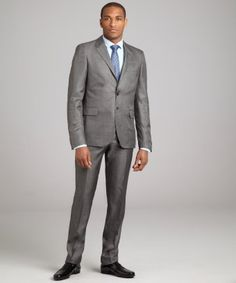 style #318946001 grey wool blend two-button suit with flat front pants