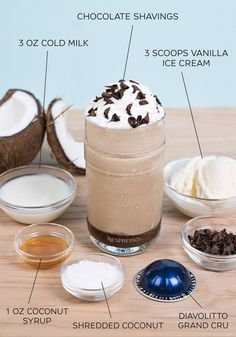 With one sip of this delicious Nespresso iced coffee creation, you'll be whisked away to a tropical island. Make this dessert beverage as a treat after dinner in a VertuoLine Recipe Set glass—simply combine vanilla ice cream, coconut, and chocolate shavings for a unique and indulgent flavor combination.
