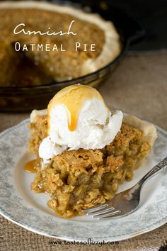 Amish Oatmeal Pie Recipe - Tastes of Lizzy T. Comforting Amish Oatmeal Pie that tastes remarkably like pecan pie. Brown sugar gives a deep, rich flavor to this sweet, simple pie that is a favorite Amish country recipe. #ad #bh