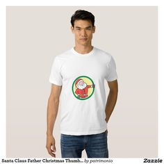 Santa Claus Father Christmas Thumbs Up Circle Cart T-shirt. Men's Christmas t-shirt showing an illustration of Santa Claus standing thumbs up set inside circle on isolated white background done in cartoon style. #christmaspresents #xmasgifts #xmas2015