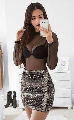 Top| Blouse| Bodysuit| Black| Sheer| See through| High neck| Tucked in| Bra| Long sleeve| Skirt| Mini| Embellished| Pearl| White| Silver| Summer| Spring| P540