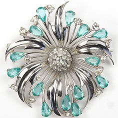 MB Boucher Sterling Silver and Aquamarine Flower Pin