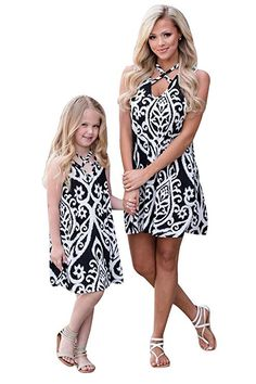 Franterd Mom /& Baby Parent-Child Beach Long Dress Family Fitted Dresses