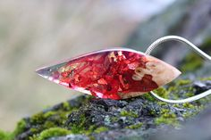 Wood Resin Necklace Red Gold pendant Fire Art Epoxy Resin