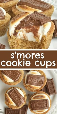 S'mores cookie cups are baked in a mini muffin pan. Graham cracker cookie base, with a toasted marshmallow, and a piece of gooey chocolate on top! Now you can enjoy campfire toasty s'more all year round for dessert. desserts S'mores Cookie Cups Chocolate Cookie Recipes, Easy Cookie Recipes, Sweet Recipes, Chocolate Chips, Muffin Recipes, Chocolate Eclairs, Fun Baking Recipes, Salted Caramel Cookies, Chocolate Candies