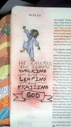 Leaping and praising God Bible Journaling