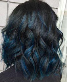 Hair Color Ideas For Brunettes Short Ombre Dip Dye 42 Ideas – Ombre Hair Blue Hair Highlights, Hair Color Balayage, Blue Hair Streaks, Ombre Hair Dye, Blue Dip Dye Hair, Dyed Hair, Brunette Color, Brunette Hair, Blonde Hair