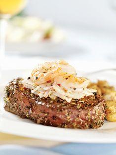 Chef Blackstone's #Steak Oscar Recipe {lump crab, cream cheese, sour cream, Duke's mayo, Old Bay, Romano, Texas Pete - Lawd}