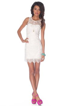 White lace dress ~ this would have been perfect for the renewal of our wedding vows on the beach in Hawaii