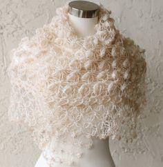 Bridal Bolero and Shrug // Shawl // Winter accessories // Wedding //Bride accessories // Glitter Tan Shawl / Crochet Shawl