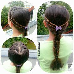 Lace dutch braids into a fishtail