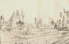 David Scott's sketch of the Protestant cemetery in Rome.