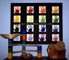 such a simple and wonderful idea! Could use the tiles from www.originalworks.com and have one handprint from each family member or school class!