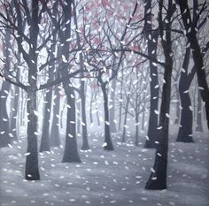 """Saatchi Art Artist Anthony Lusignan; Painting, """"Fall"""" #art Silver Lining, Shades Of Grey, Oil On Canvas, Saatchi Art, Artworks, Original Paintings, Landscape, Fall, Illustration"""