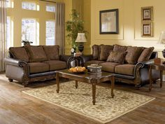 Living Room Dark Furniture Light Yellow Walls Traditional