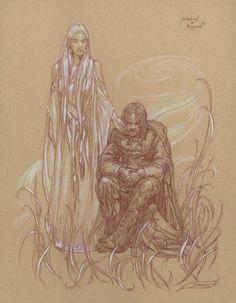 Galadriel and Aragorn by Donatoarts ( Donato Giancola ) on deviantart
